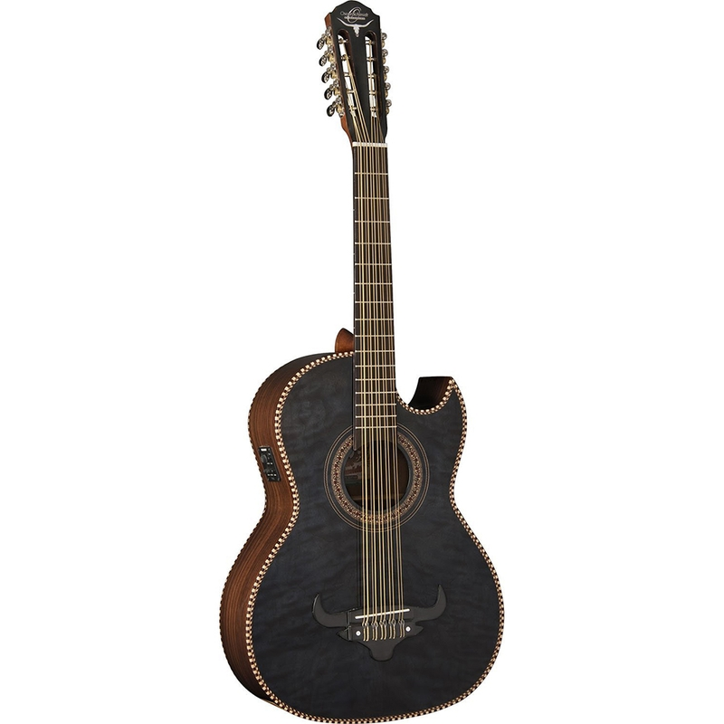 Oscar Schmidt OH32SEQTB Acoustic-Electric Bajo Quinto with Burled Maple Top and Deluxe Gig Bag - Transparent Black