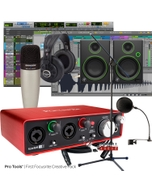 Focusrite Scarlett 2i2 (2nd Gen) Pro Tools First Recording Bundle with Mackie Monitors, Samson Mic, & More