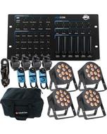 ADJ 12P HEX PAR X 4 + HEX DMX Controller + Cables Bundles w/  Bag
