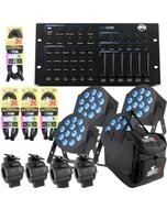 ADJ 12P HEX PAR X 4 + HEX DMX Controller + Cables Bundles + Bag