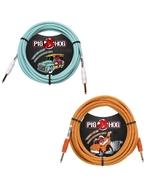 (2) Pig Hog Instrument Cables 10ft, Seafoam Green and Orange Cream