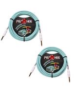 (2) Pig Hog Instrument Cables 10ft, Seafoam Green