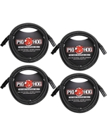 4-Pack of Pig Hog PHM10 Microphone XLR Cables - 10 ft