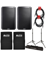 """Alto TS215 15"""" 1100W Powered Speaker Pair with Covers, Stands, and Cables"""
