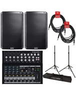 """Alto TS215 15"""" 1100W Powered Speaker Pair with Mackie Mix12FX Mixer, Stands, and Cables"""