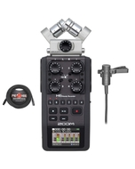 Zoom H6 Portable Handheld Recorder with Audio-Technica AT831B Lav Mic and 25 ft XLR Cable