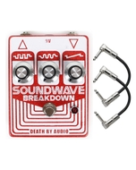 Death by Audio Soundwave Breakdown Fuzz/Distortion Guitar Effects Pedal with Patch Cables