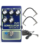 Digitech DOD Gonkulator Ring Modulator/Distortion Pedal with Power Supply and Patch Cables