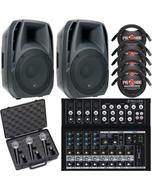 ADJ ELS 15A Powered Speakers + Mackie Mixer + Microphones & Cable Bundle