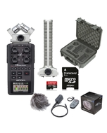 Zoom H6 Portable Handheld Recorder + Shotgun Microphone, Accessory Pack + Case