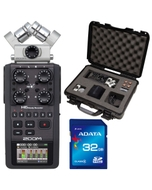 Zoom H6 Portable Handheld Recorder with Gator Hard Case and 32GB SDHC Memory Card