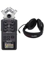 Zoom H6 Handheld Recorder Interchangeable Mics & Resident Audio R100 Headphones
