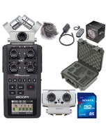 Zoom H6 Portable Handheld Recorder with Case, Accessory Pack, 32GB Card, and EXH6 Attachment
