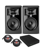 """JBL 305P MkII Powered 5"""" Studio Monitor Pair with Isolation Pads and XLR Cables"""