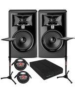 """JBL 305P MkII Powered 5"""" Studio Monitor Pair with Isolation Pads, XLR Cables, and Stands"""