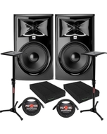JBL 308P MkII Powered Studio Monitor Pair with Isolation Pads, XLR Cables, and Stands