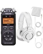 Tascam DR-05 PCM Portable Digital Recorder & Audio Technica M50X White Headphone