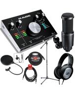 M-Audio M-Track 2x2M USB MIDI I/O Interface Singer/Songwriter Recording Bundle