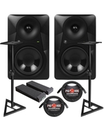 """Mackie MR624 6.5"""" Powered Studio Monitor PAIR with Cables, Stands, and Pads"""