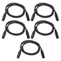 5-Pack of Monoprice 601602 1.5 Meter (5ft) 3-pin DMX Lighting & AES/EBU Cables