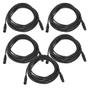 5-Pack of Monoprice 601606 6 Meter (20ft) 3-pin DMX Lighting & AES/EBU Cables