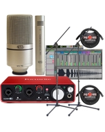 Focusrite Scarlett 2i2 (2nd Gen) Interface with Pro Tools First, MXL 990/991 Mics, Cables, and Stands