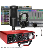 Focusrite Scarlett 2i2 (2nd Gen) Pro Tools First Recording Bundle with Microphone, Headphones, & Cable