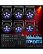 Chauvet SlimPAR H6 USB X 6 + ADJ Hexcon DMX Controller + Cables Bundle