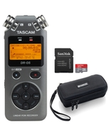 Tascam DR-05 Version 2 PCM Recorder (Grey) with Carry Case and 32GB Memory Card