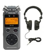 Tascam DR-05 V2 Handheld PCM Recorder (Grey) and TH-02B Headphones (Black)