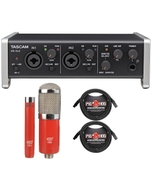 Tascam US-2X2 USB 2-in/2-out Audio/MIDI Interface with MXL Microphone Set and Cables