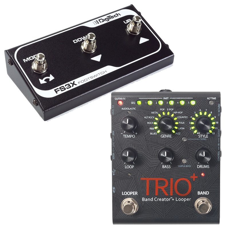 DigiTech Trio+ Plus Band Creator and Looper Guitar Effects Pedal with FS3X 3-Button Foot Switch