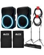 """Alto TSL115 15"""" 800W Active Built-in LED Speaker Pair with Covers, Stands, and Cables"""