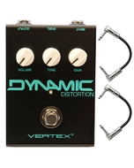 Vertex Dynamic Distortion Guitar Effects Pedal with Patch Cables