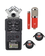 Zoom H6 Portable Handheld Recorder with MXL Microphone Set and XLR Cables