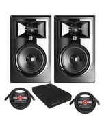 JBL 306P MkII Powered Studio Monitor Pair with Isolation Pads and XLR Cables