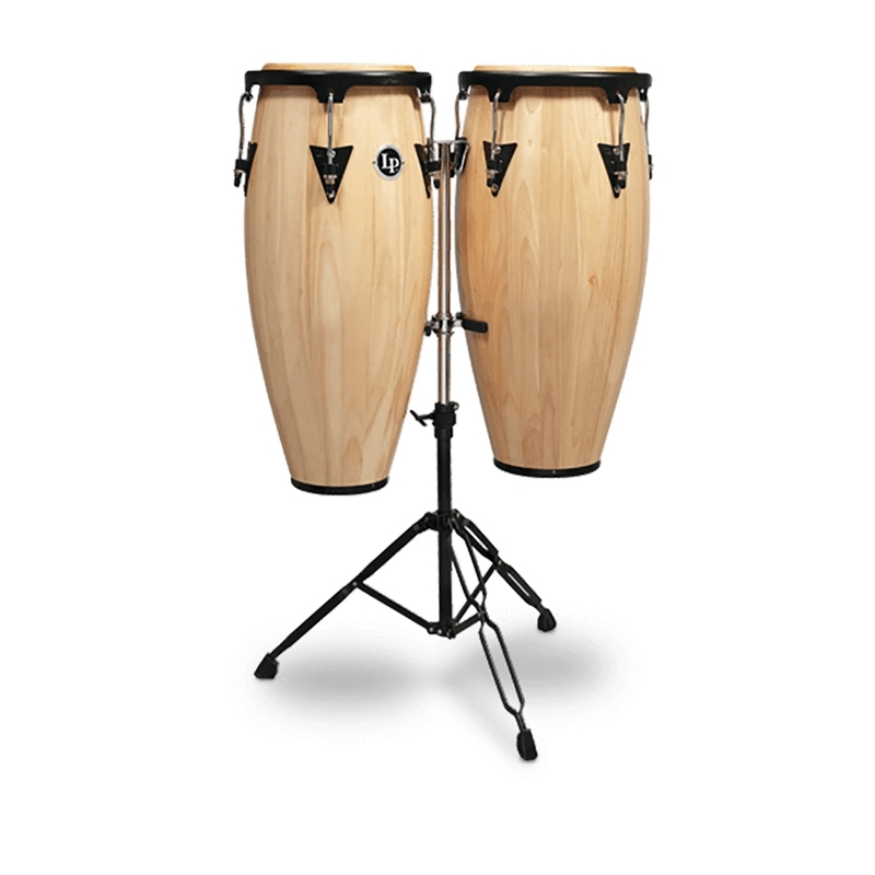 """LP Latin Percussion LPA646-AW Aspire Series Wood Quinto/Conga Set with Stand, 10/11"""" - Natural"""