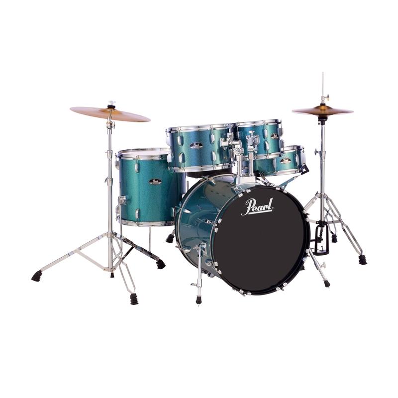Pearl RS505C/703 5-Piece Drum Set / Kit w/ Hardware & Cymbals, Aqua Blue Glitter