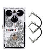 SolidGoldFX If 6 Was 9 Silicon Fuzz Guitar Effects Pedal - Cosmic White (BC183CC) with Patch Cables