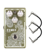 SolidGoldFX If 6 Was 9 Silicon Fuzz Guitar Effects Pedal - Metallic Sage (BC108CS) with Patch Cables
