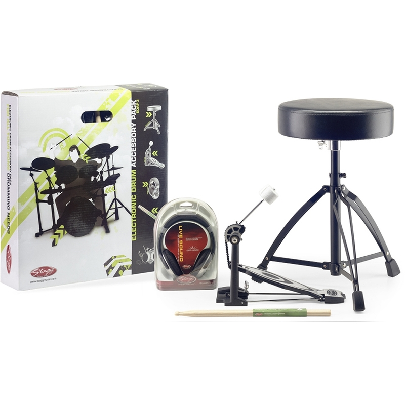 Stagg Electronic Drum Accessory Pack (Includes Headphones, Sticks, Throne, and Pedal)