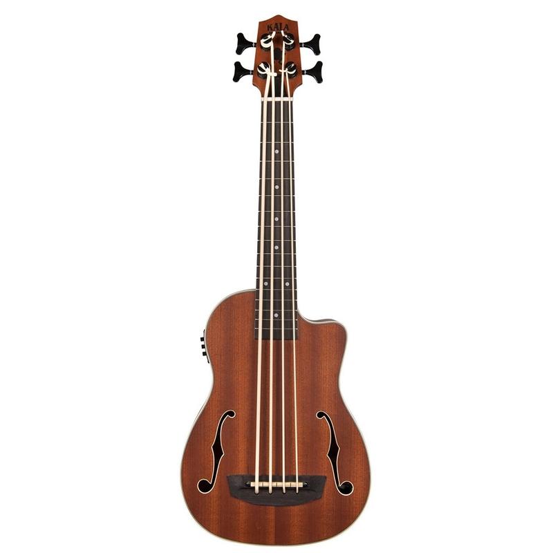 Kala UBASS-JYMN-FS Journeyman Fretted Acoustic-Electric U-Bass with F-Holes and Gig Bag