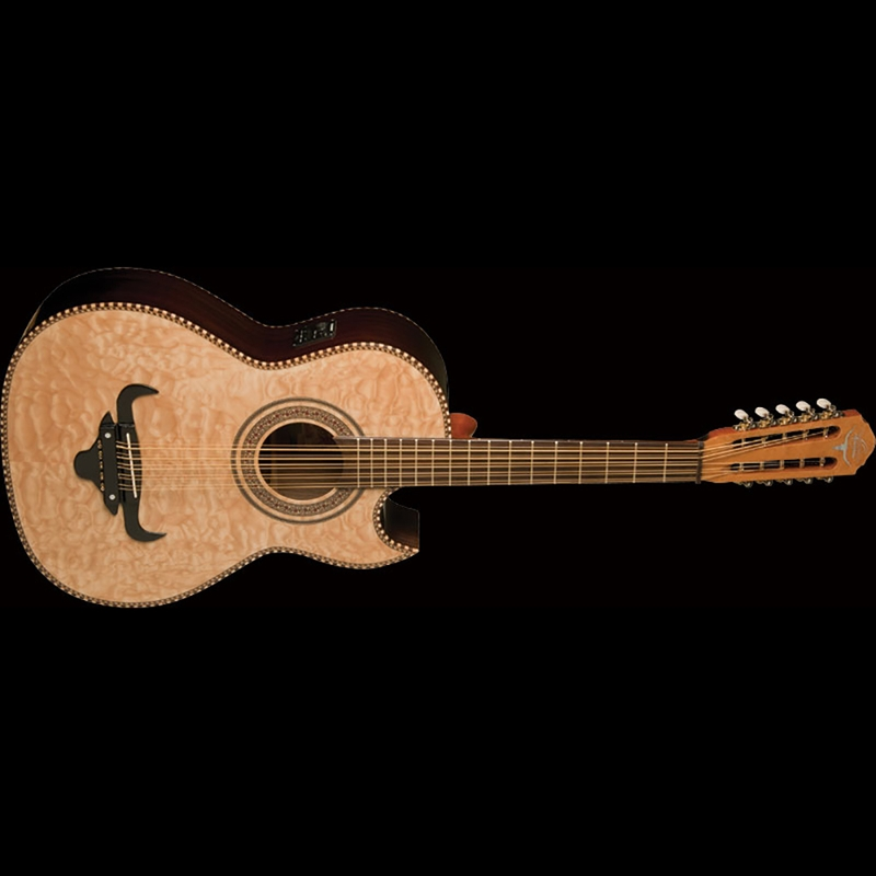 Oscar Schmidt OH32SEQN Quilted Top Bajo Quinto with Gig Bag (Natural)